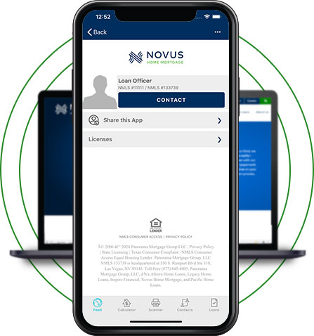 Novus Home Mortgage App on phone with laptop behind it